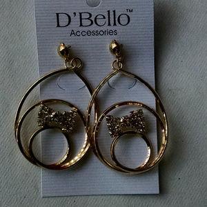 Gold Hoop Earrings with Rhinestone Bow Tie